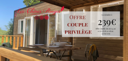 Mobilhome Grenat Offre couple chênes rouges camping nature bois